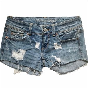 American Eagle Slim Boot Distressed Jean Shorts